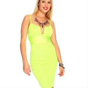 WOW Couture neon coral peach bodycon bandage dress